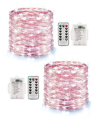 Lichterkette Batterie, 2er 10M 100 LED Lichterkette 8 Modi Außenbeleuchtung Kupferdraht, Wasserdichte IP68 mit Fernbedienung und Timer für Weihnachten Wand Innen Außen Dekoration, Kaltesweiß