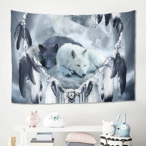 Dream Catcher Yin Yang Wolf - Tapiz para colgar en la pared, toalla de picnic, toalla de playa, esterilla de yoga, manta de playa, manta de mesa, manta de playa, 200 x 150 cm, color blanco