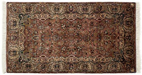 Lifetex.eu Hochwertiger Orientteppich Ghom-Muster (ca. 90x160 cm) Klassisch handgeknüpft Schurwolle Braun Teppich