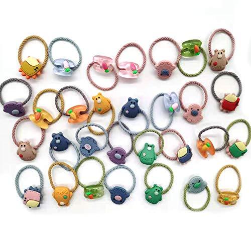 coleteros niña-30 piezas de banda para el gomas pelo niñabanda elástica color personajes dibujos animados lindos niños niños cuerda para cabello niños cola caballo