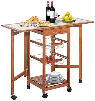 HOMCOM 37  Modern Wooden Drop Leaf Kitchen Island Rolling Cart with Basket Storage