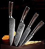 Cuchillo de cocina Conjunto Damasco Cuchillas de acero inoxidable CHEF CHILE CUCHILLO SUEKU CUCHILLO COLOR MANGO MANGO UTILIDAD DE CUCHILLOS DE CUCHILLOS DE CUCHILLOS cuchillos (Color : 4PCS)