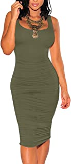 BEAGIMEG Women's Sexy Ruched Bodycon Casual Solid Sleeveless Tank Midi Dress