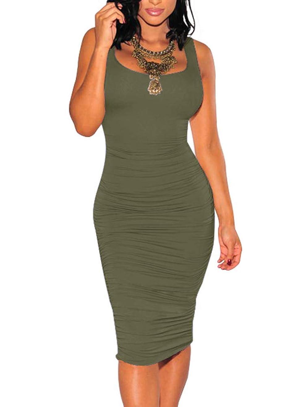 BEAGIMEG Women's Sexy Ruched Bodycon Casual Solid Sleeveless Tank Midi Dress