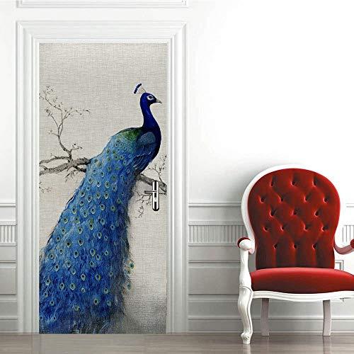 Etiqueta engomada de la puerta del pavo real 3D, calcomanías murales de PVC para la decoración del hogar del arte 30.3x78.7 (77x200cm)