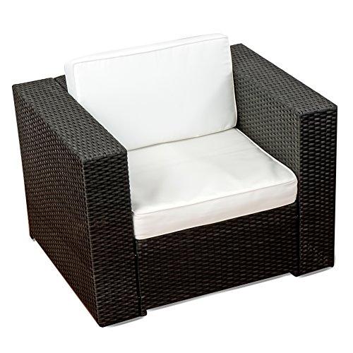 XXL Balkon Lounge Set für Balkon und Terrase erweiterbar - Polyrattan Balkon Lounge Set - schwarz – Gartenmöbel Lounge Möbel Set Garnitur - Gartenlounge Set + Lounge Sessel + Hocker + Tisch + Kissen - 4
