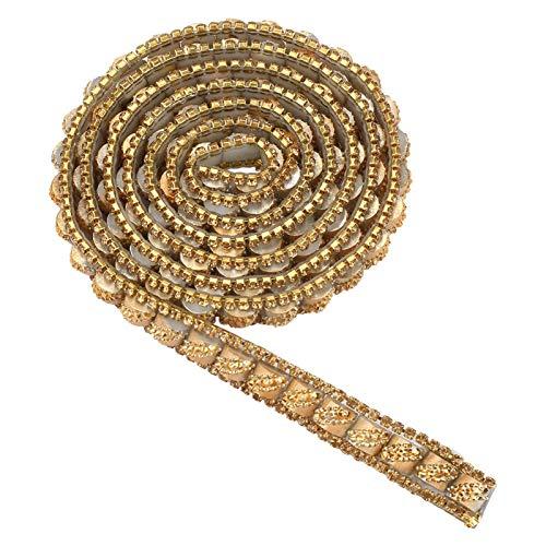 Aplique de cadena de cierre de cristal con adorno de diamantes de imitación de 1 yarda, ribete de cuentas de costura, rollo de envoltura de malla de cinta de pegamento con respaldo de calor(#6)