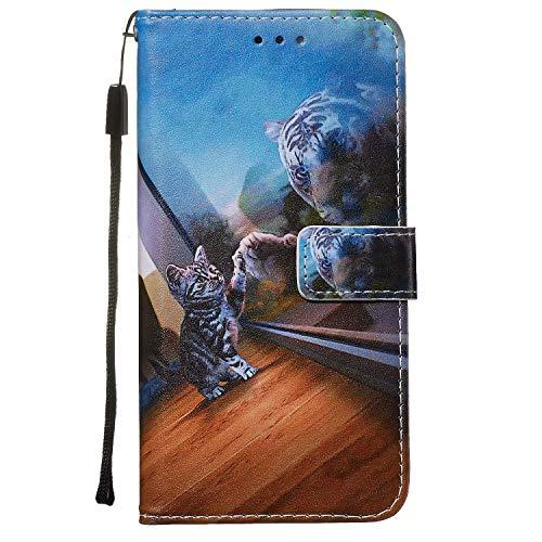 Nadoli Leder Hülle für Huawei P40 Pro,Bunt Spiegel Katze Malerei Ultra Dünne Magnetverschluss Standfunktion Handyhülle Tasche Brieftasche Etui Schutzhülle