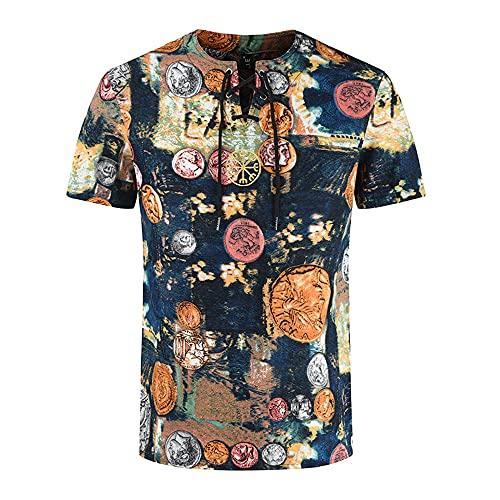 Shirt Ocio Hombre Manga Corta con Cordones Verano Hombre Shirt Moderna Slim Fit Estampado Moda Vintage Hombre T-Shirt Transpirable Clásico Hombre Ropa De Calle YC06 XL