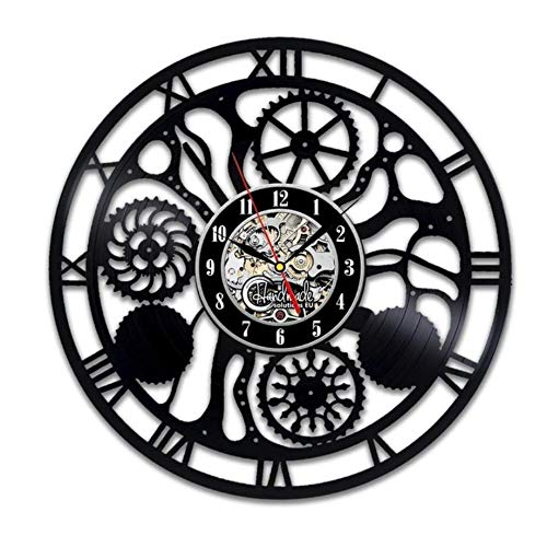 Pmhc Digitale wandklok modern design steampunk cog wheels black klokken 3D decoratief vinyl CD record muur klokje huisdecoratie