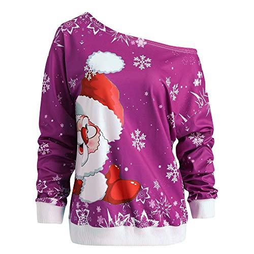 Damen Kapuzenpullover Lange Ärmel Hoodie Pullover Ronamick Mode Frauen Frohe Weihnachten Weihnachtsmann Print Skew Kragen Sweatshirt Bluse(M, Hot Rosa)