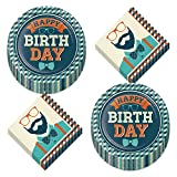 Hipster Guy Party Supplies - Happy Birthday Bowtie and Plaid Paper Dinner Plates and Cool Bearded Gentleman Luncheon Napkins (Serves 16)