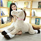 SILENCE 1 90Cm Juguete de Peluche de Caballo Gigante Peluche Suave de Dibujos Animados Squatting Horse Doll Animal Gift Room Pillow Living Room Cushion-90Cm_White