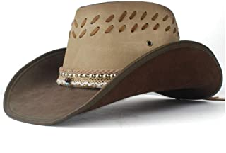 TX GIRL Genuine Leather Western Cowboy Hat Women Men with Roll up Brim Punk Belt Jazz Sombrero Cap Dad Hat Size 58-59CM Novelty Party Costumes (Color : Coffee, Size : 58-59cm)