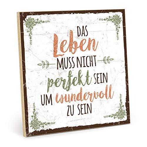 TypeStoff Holzschild mit Spruch – Nicht PERFEKT – im Vintage-Look mit Zitat als Geschenk und Dekoration zum Thema das Leben ist schön (19,5 x 19,5 cm)