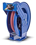 "Coxreels TSH-N-450 Retractable Air, Water or Oil Hose Reel, T Series, ½"" x 50' Easy-Maintenance Design with Brass Swivel and Multi-Position Mount Arm -Heavy Duty Steel Construction, Made in USA, Blue"