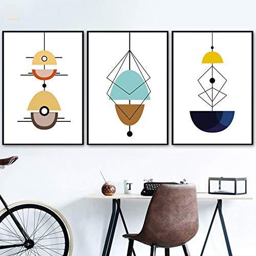 IGZAKER Abstracte Geometrie Lamp Scandinavische Muur Canvas Schilderij Nordic Posters En Prints Muur Foto 'S Voor Woonkamer Home Decor-50x70cmx3pcs geen frame