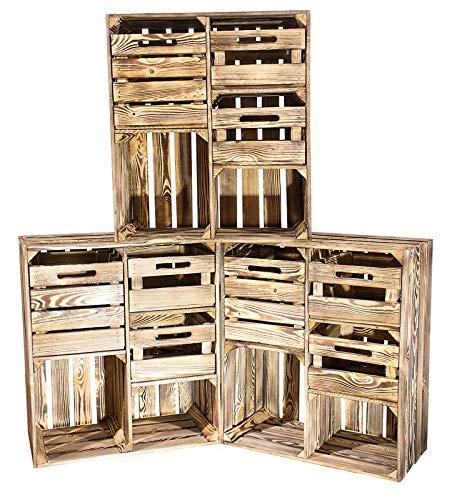 3X Vintage-Möbel24 geflammter/brauner Hochschrank mit 3 Schubladen 77cm x 68cm 35cm, Schrank Kommode Obstkiste Flur