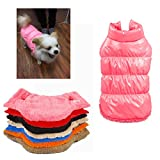 Kismaple Pet Dog Cat Coat Jacket Waterproof Outdoor Winter Warm Jackets Coats Small Dogs Puppy Clothes Winter Vest Pink S Chest: 12.99-13.77 inches