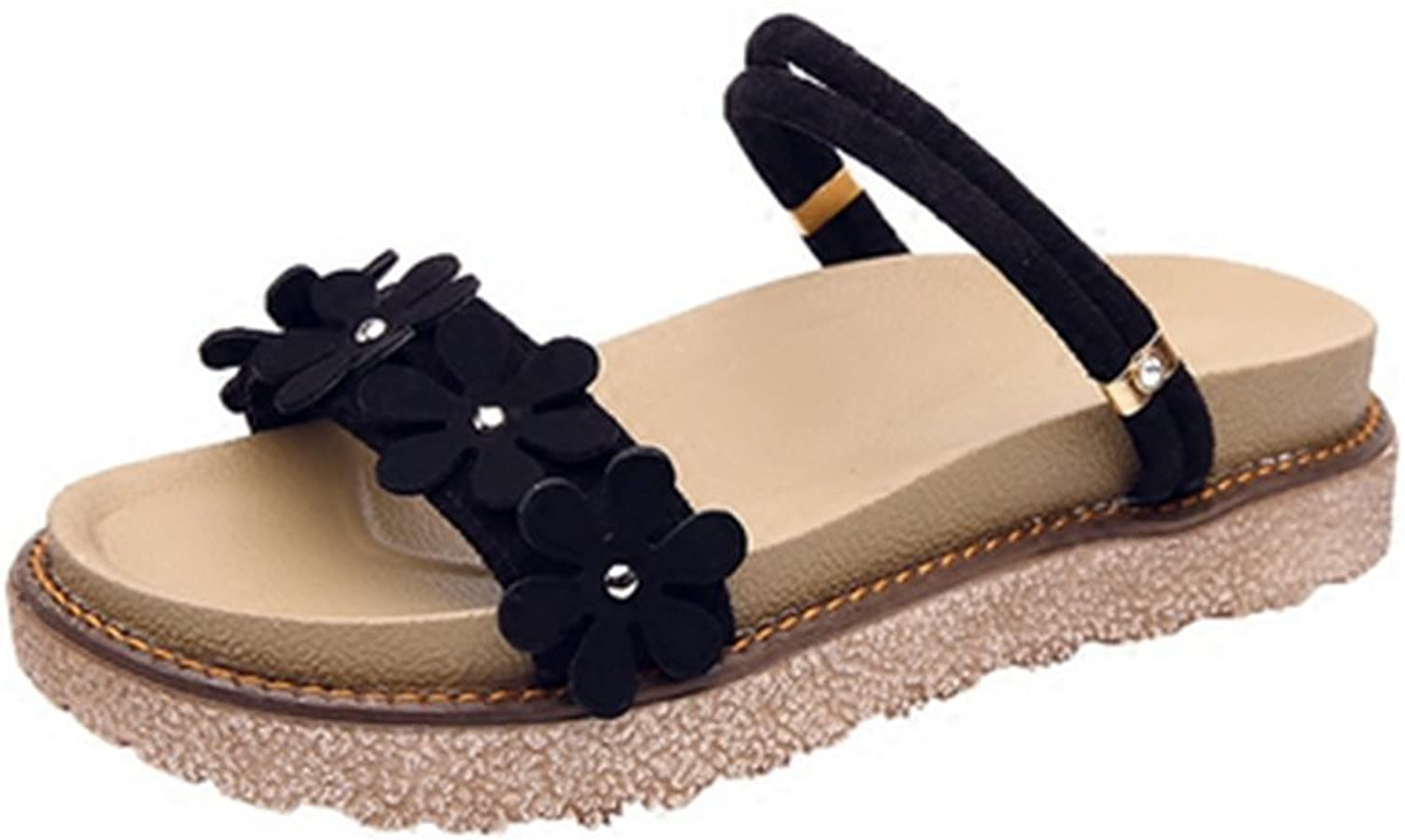 Weiwei Summer Flat Sandals and Slippers, Strap Flowers Beach Sandals
