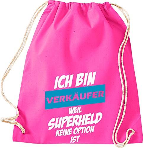 Shirtstown Sac de gym avec inscription en allemand « Superheld not Option », W11004563pink, rose bonbon, 37 cm x 46 cm