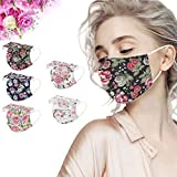 50Pcs Disposable Flower Face_Masks for Women, 3 Ply Fashionable Spring Floral Designs Breathable Face_Mask with Nose Wire for Glasses Wearers, Protective Facemask for Adults Holiday Party