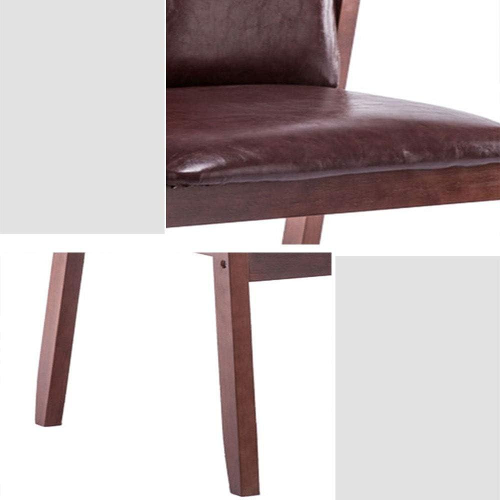 ALY Chaise à Manger en Bois Massif PU Cuir Chaise Longue Design Ergonomique Maison Fauteuil de Bureau Chaise de Restaurant Dark Brown - Wood Legs