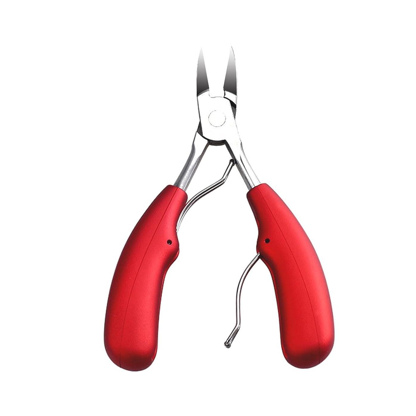 銃再生可能テクスチャーBESTOMZ 爪切りニッパー 巻き爪 変形爪対策 ネイルニッパー 切れ味が良い ネイル介護用品(赤)