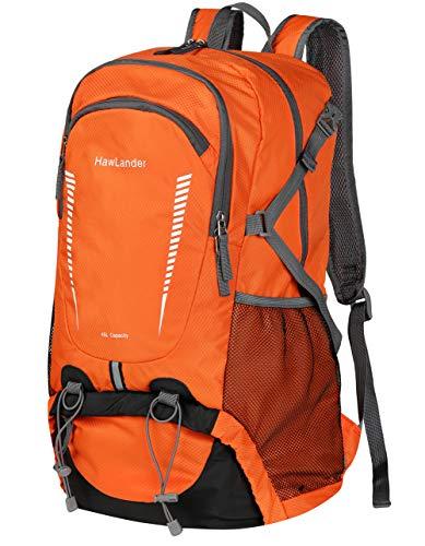 HawLander Wanderrucksack, verstaubar, Reise-Tagesrucksack für Camping, leicht, orange, groß, 45 l