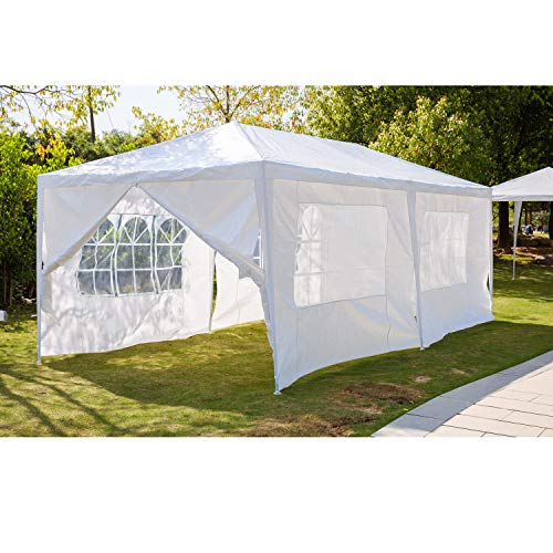 AutoBaBa Garden Gazebos, White PE Gazebo Marquee Awning Tent Canopy for Outdoor Wedding Garden Party, 3x3m, 3x4m, 3x6m, Fully Waterproof, (3x4m, With Zip Up Side Panel, B Type)