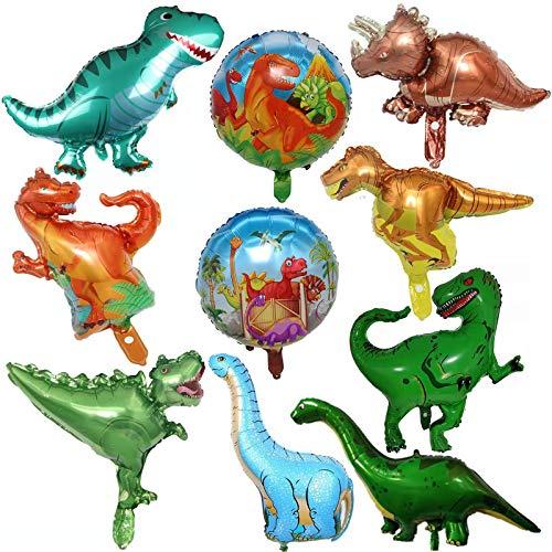 FINEVERNEK 10 Pièces Ballon de Dinosaure Inclut 6 Pièces Ballon de Dinosaures et 2 Pièces Ballon en Feuille de Dinosaure Rond pour Fête de Dinosaures de Baby Shower Sur de Dinosaures de Jungle