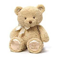 Baby's first teddy. You never forget your first teddy bear. Make baby's first friend last a Lifetime of hugs and as nursery décor with My 1st teddy. Gender-neutral color. This My 1st teddy gender-neutral Tan color with matching satin accents is a mod...
