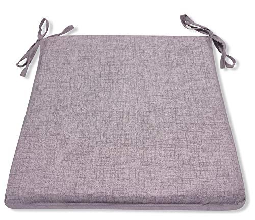 CnA Stores - Grey Set of 4 Kitchen Dining Garden Chair Cushion Seat Pads With Ties and Zipped Removable Covers (Hensley GREY)