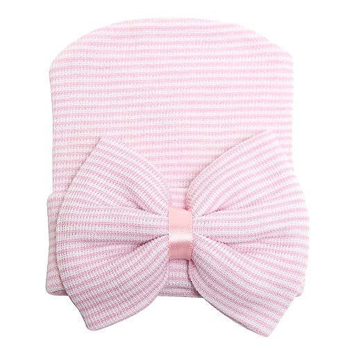 Sarfel Newborn Hats for Girls Hospital Hat Baby Girl Bows and Headbands Infant Beanie Nursery Caps Pink