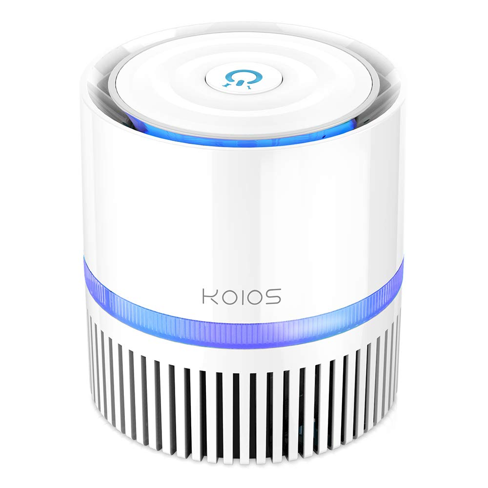 KOIOS Air Purifier, Desktop Air Filter Cleaner with 3-in-1 True HEPA Filter for Home Bedroom Office, Table Air purifiers for Allergies and Pets, Odor and Dust Eliminator for Wildfire Smoke, Night Light, Available for California, Gift for Family Friend