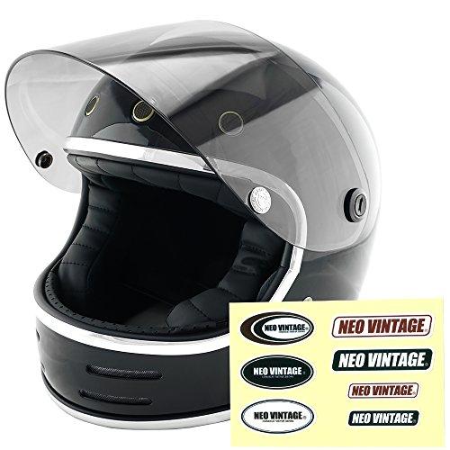 NEO VINTAGE レトロフューチャー フルフェイス SG規格品 ステッカー付 [ブラック×ライトスモークシールド 黒 Lサイズ:59-60cm対応] VT-9 バイクヘルメット
