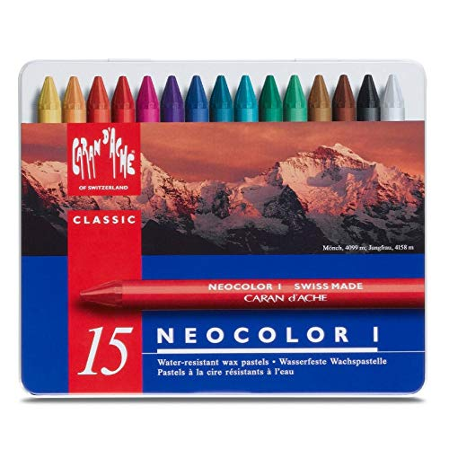 Neocolor I Water-Resistant Wax Pastels, 15 Colors