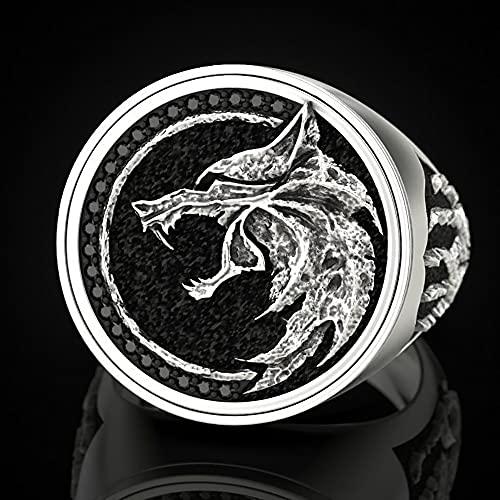 LH&BD Anillo Acero Inoxidable para Hombre Nórdico Vikingo Mago Guerrero Cazador En Relieve Cabeza Lobo Joyería con Garra,Plata,9