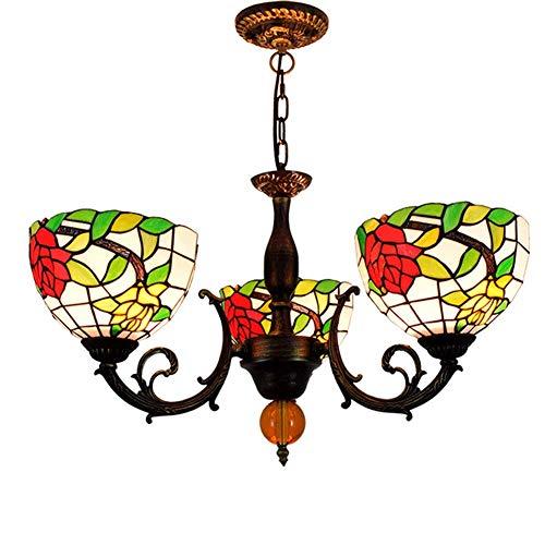 NZKW Lámpara Colgante de Techo de 8 Pulgadas Lámpara de araña Estilo Tiffany Vidrieras Pastoral Rose Lámpara de araña de 3 Brazos con lámpara Colgante de Techo Invertida