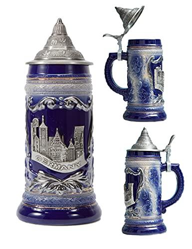 Amoy-Art Jarra de Cerveza Alemana Panorama de Berlin German Beer Stein Mug Regalos Souvenirs Giftbox 0.6Litre