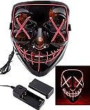 Foneso LED Maske DJ Masken mit 3 Blitzmodi für Halloween Maske Fasching Karneval Party Kostüm...