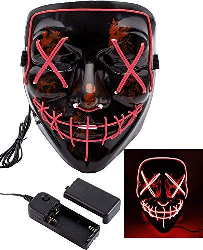 Foneso LED Maske DJ Masken mit 3 Blitzmodi für Halloween Maske Fasching Karneval Party Kostüm Cosplay Dekoration (Rot)