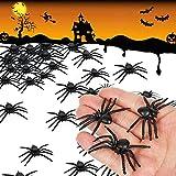 KJTOC 50 Arañas Tenebrosas - Realistas de Plástico Falso Araña,Halloween Divertida Broma Party Favor, Decoración Apoyos, Telaraña Decorar,Accesorios de Fiesta Regalos