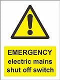 INDIGOS UG - Adhesivo de seguridad - advertencia - 5 - Set - Señal de emergencia con interruptor de apagado eléctrico - Pegatina autoadhesiva 150 mm x 200 mm