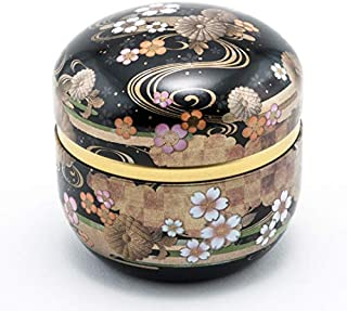 Japanese Traditional Cherry Blossoms Sakura Design 100g Tea Canister Loose Tea Container Keep Dry Made In Japan (Black)