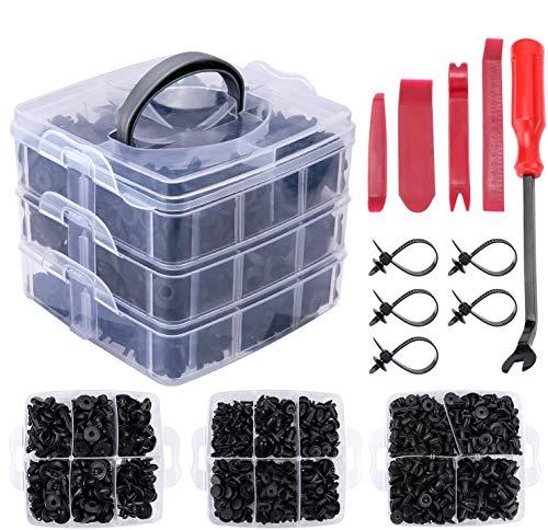 TOPWAY 635 Pcs Clips de retención de automóvil y kit de sujetadores de plástico