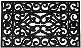 Casa Service Iron Rettangolare 45x75 cm Zerbino in Gomma da Fuori Porta Resistente e di qualità Antiscivolo Stile Ferro Battuto Decorato Ecologico