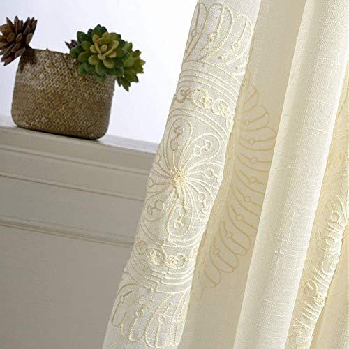 ZYY-Home curtain Cortinas De Visillo Lino con Apariencia Transparente con Ojales Dormitorio Cortina Transparente,para Salón Dormitorio Balcón 2 Piezas,Beige,W200xL250cm