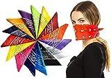 60 Pack Bulk Bandanas, Face Mask, Assorted Colors And Prints, Cotton Bandana, Wholesale Bulk Scarf Headband Handkerchiefs (ASSORTED)