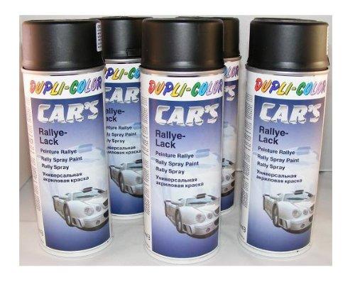 Dupli Color 385872 Car´s Rallye-Lack schwarz matt 6 Spraydosen á 400 ml
